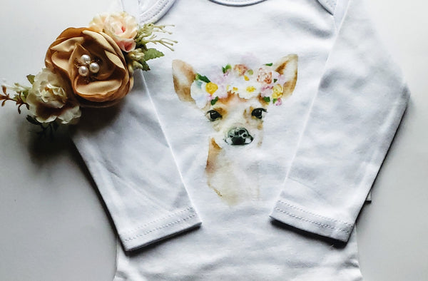 Baby Girl's Doe Fawn Deer Watercolor Organic Cotton Bodysuit Onesie Plus Hat Newborn 0/3 mo. Infant Girls NB Gift Sets Outfits Girls' Clothing Gifts Antler Hat Nordic Woodlands Set
