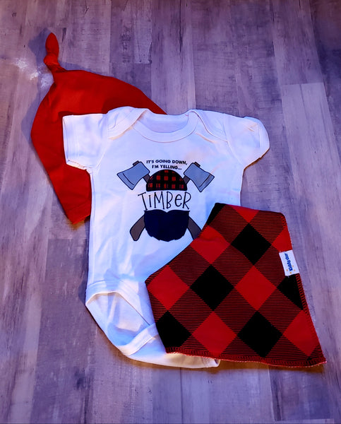 Lumberjack Baby Boy or Girl Outfit Buffalo Plaid Onesie Hat Bib Boys Baby Shower Gift Outfit 0/3 mo Newborn Infant Boy's Clothes Kids Photo Prop Set Gifts