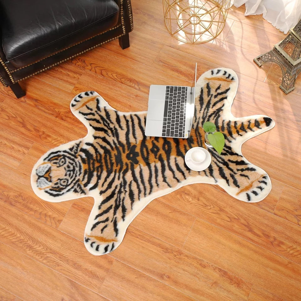 Faux Tiger Skin Rug for Baby Nursery Children Kids Room Jungle Safari Animal Rooms