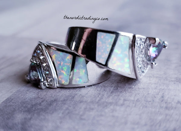 Couples Rings Sterling Silver Rainbow Mystic Topaz & Created Fire Opal Inlay Limited Stock Promise Wedding 2 Ring Sets Hers Her Women's Jewelry Gifts Womens
