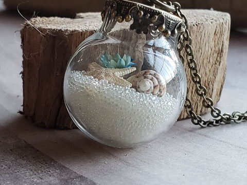 Beach Ball Necklace Tiny Glass Globe Holds Treasures From Ocean Real Starfish Sand Sea Shell Womens Bottle Necklace Jewelry Accessories Gifts