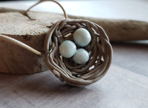 Mama Bird Nest Ceramic Women's Necklace Mom Pendant 3 Bird's Blue Eggs Mommy Bird Womens Handmade Jewelry Mother's Day Gift Idea