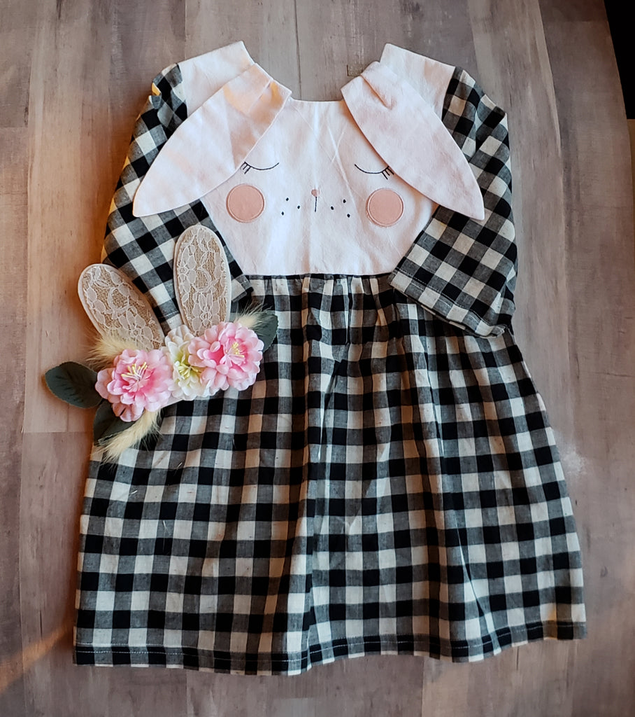 Little Girl's Checkered Easter Bunny Dress Long Ears Sleeping Eyes Black White Checks Scandi Style Girl Toddler Kids Dresses Clothes sz 3