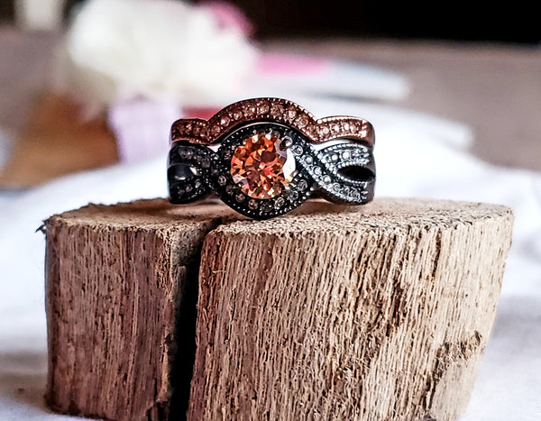 Women's Duo Tone Bands Moissanite Wedding Ring Set Swiss Chocolate Gold Ring Black Gold Solitaire Engagement Bridal Set Women's