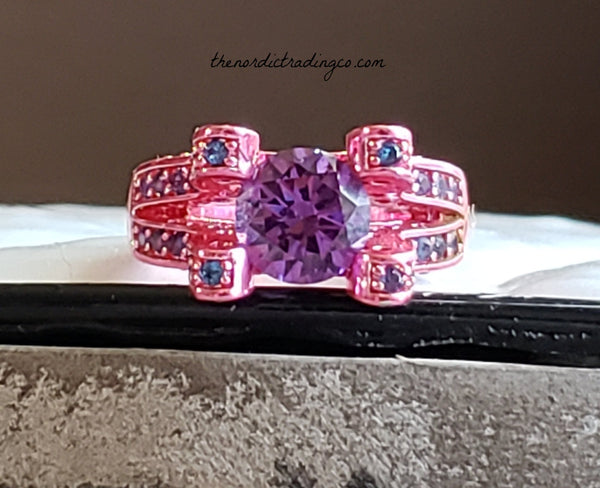 Womens Pink Rhodium Plated Princess Cut Amethyst Solitaire Ring Women's Rings sz 7 Breast Cancer Jewelry Valentine's Day Gift Gifts Wife Fiance Girlfriend Ships from USA