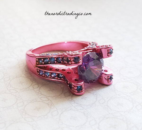 Bright Pink Rhodium Rhodium Plated Women's Ring sz 7 Jewelry Christmas Gifts for Her