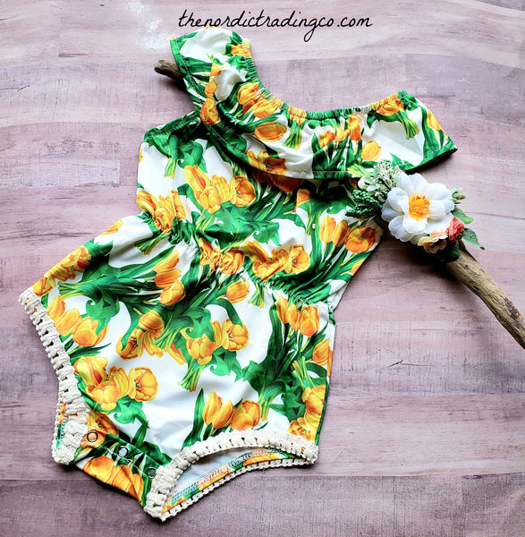One Year Bright Yellow Flowers Girls Romper + Headband Newborn Girl Outfit Baby Shower Gift Flowers Floral Toddler One Piece Clothes