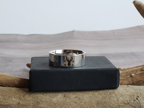 Couples Wedding Ring Set His Doe Her Buck Engraved Sets Titanium Bands Deer Tracks Antlers Silhouette 8mm Band His n Hers Bride Groom Matching Jewelry Men Women