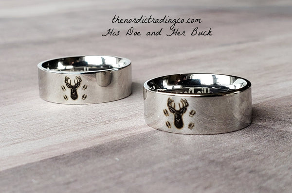 His Doe Her Buck Engraved Inside Wedding Ring Pair Deer Silhouette w/ Antlers Etched Hoof Prints Couples 2 Band Set Hunt Inspired Rings