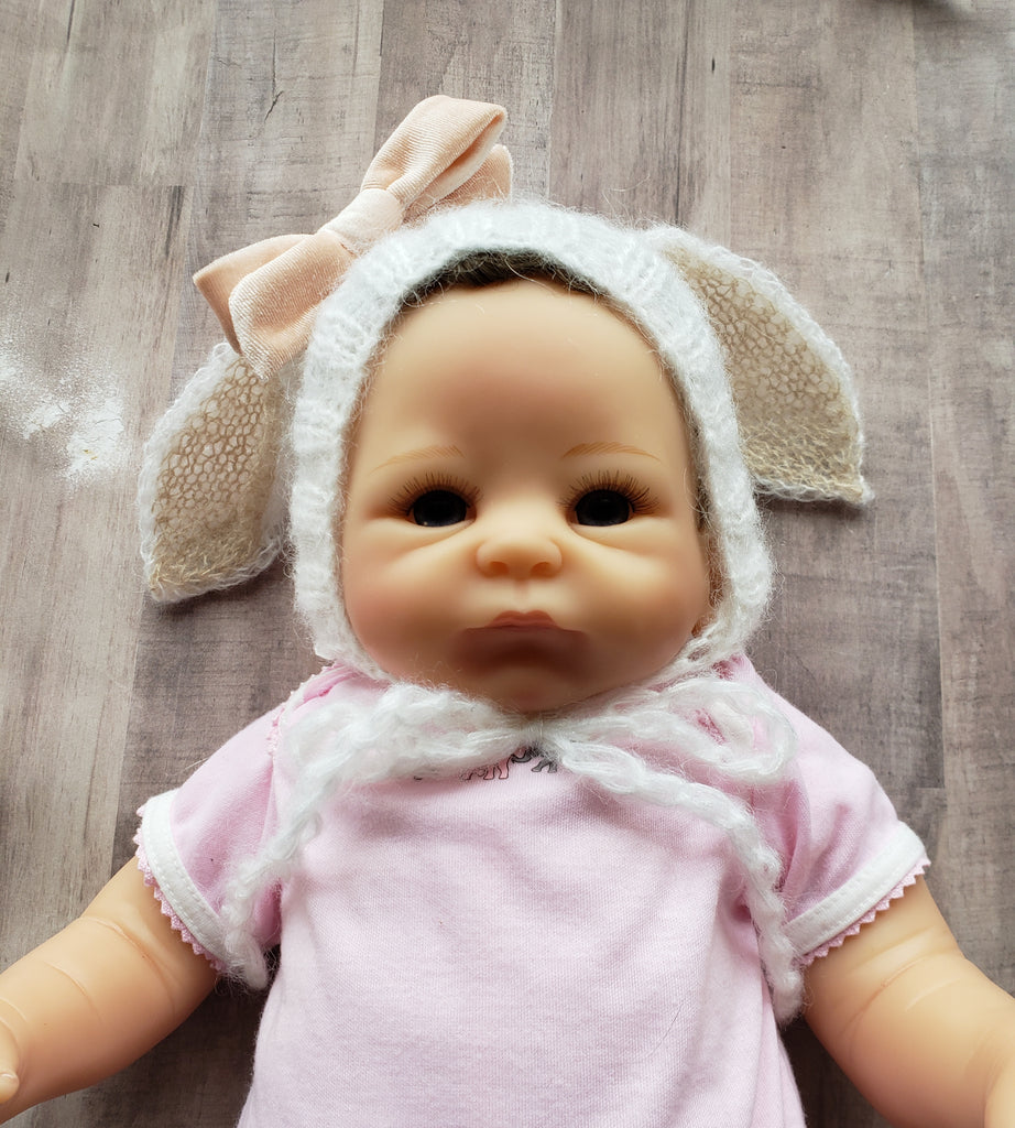 Baby Girls Handmade Mohair Bunny Ears Hat Infant Keepsake Gift 0/6 mo Easter Bunny Hats High Quality Gifts Girl or Boy
