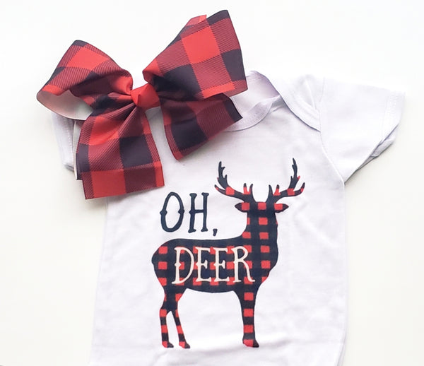Oh Deer Pregnancy Announcement Onesie NB Red Black Buffalo Check Big Bow Baby Shower Gift Ideas Infant Girl's Boy's Gifts Bodysuit Hunt Photo Prop