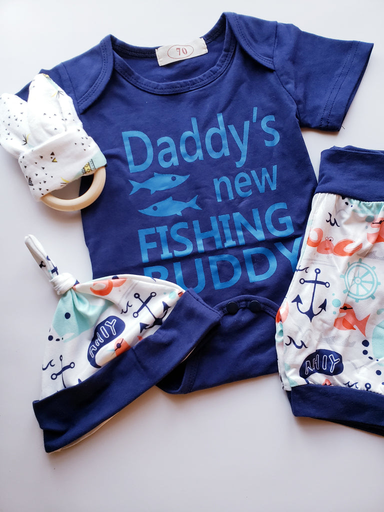 a6d452feff98f Daddy's New Fishing Buddy Infant Boy's Outfit Boy Baby Shower Gift Kid –  thenordictradingco.com