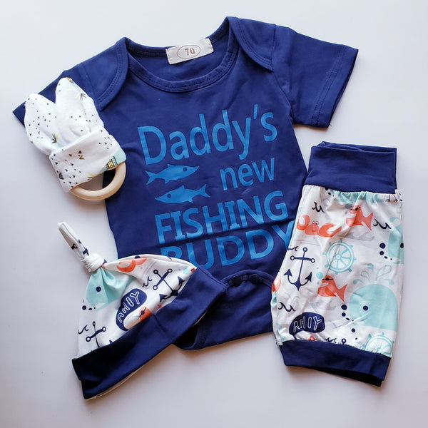 Daddy's New Fishing Buddy Infant Boy's Outfit Boy Baby Shower Gift Kids Clothes Gifts Newborn Boys Bodysuit Shorts Hat Whales Ocean USA