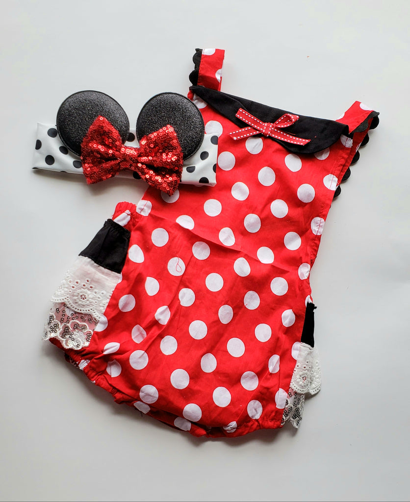 Baby Girls Minnie Mouse Romper Sunsuit plus Ears Headband Fun First Second Birthday Outfit Toddler Girl Girl's Kids Clothing Sets Outfits Gift Ideas