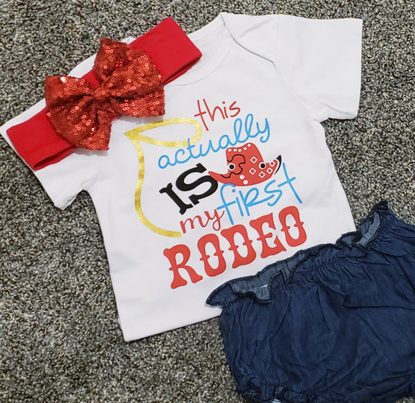 Baby Girls My First Rodeo Outfit Denim Bloomer Cowgirl Romper Sparkly Headband 3 pc Set 0/6, 6/12 mo