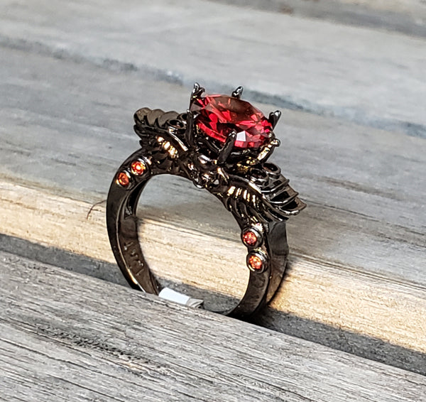 Women's Elegant Black Gothic Skull & Wings Ring Princess Cut Ruby Red CZ Six Talon Prongs Beautiful Engagement Rings / Wedding Promise Women's Jewelry Gifts for Her