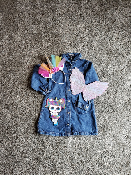 Little Girl's Upcycled Denim Dress Unicorn LOL Doll Applique Removable Wings Headband Girls Dresses Casual Kids Custom Character Clothing Clothing