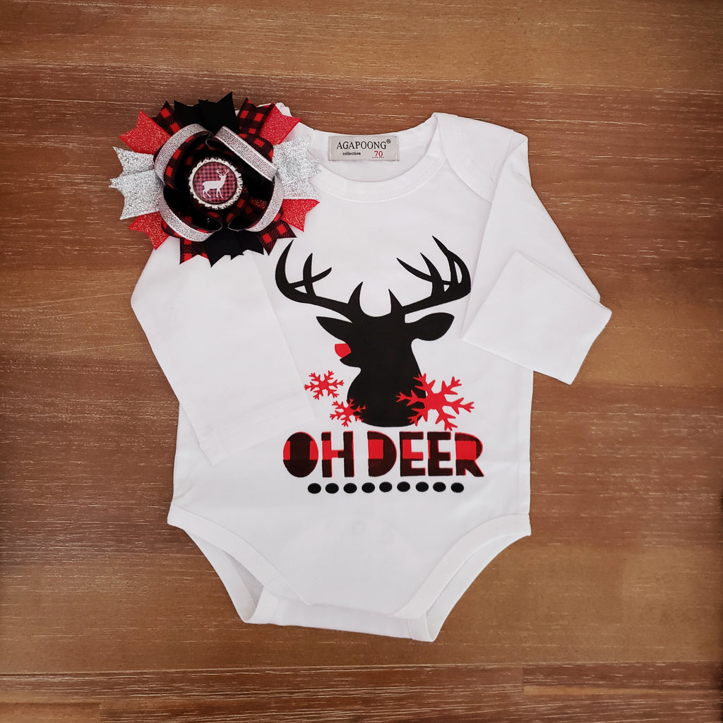 Oh Deer Big Buffalo Plaid Deer Bow and Onesie Bodysuit NB Girls Top Baby Shower Gifts Infant Girl's Clothing Christmas
