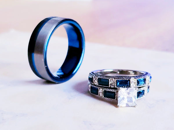 Thin Blue Line Law Enforcement Wedding Rings Set Blue Black Mens Band Womens Bridal Set Engagement Ring Wedding Band Lab CZ Sapphire Blue CZ Baguettes