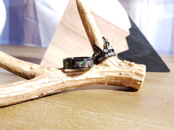 Womens Deer Antler Huntress Wedding Ring Single or Set Black Plated Engagement Ring Wedding Band CZ Women Jewelry Rings Bands Hunt Hunter Hunting Inspired
