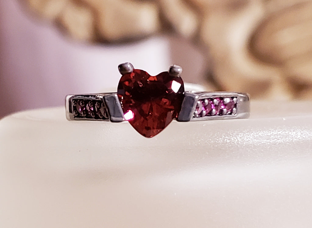 Womens Deep Red Heart Ring CZ Solitaire Ruby Red Accents Black Plated Band Womens Jewelry Gift Promise Rings Valentine's Day