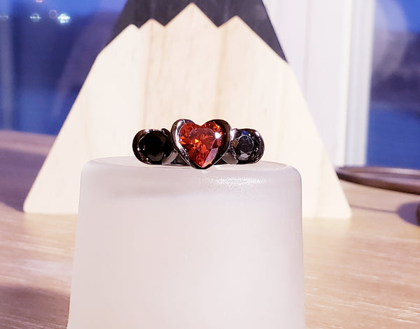 Sweetheart Women's Rings 3 Stone Red Heart CZ 2 Black Princess Cut CZ's Black Gold Plated Setting Valentine's Day Gift Ideal for Girlfriend Wife sz 6 USA