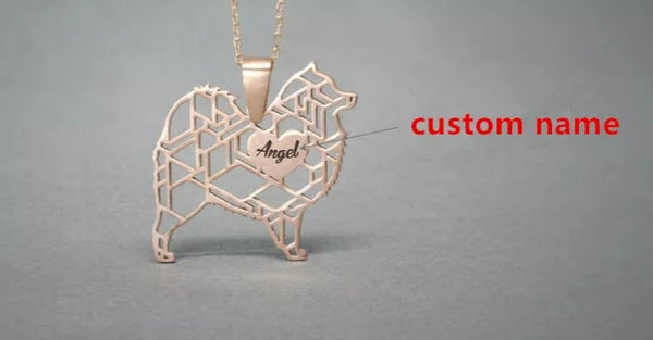 Dog Moms Gift Personalized Name Dog Breed Necklace  Women's Jewelry Most Breeds Ava. Gold Silver  Rose Gold Pups Name engraved on Heart