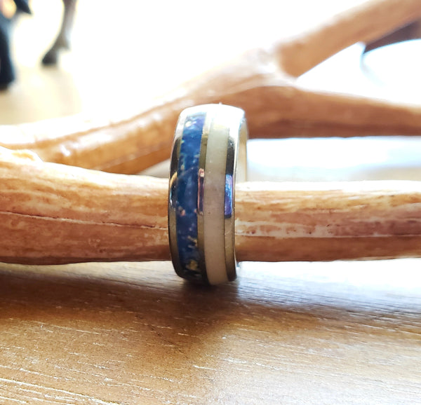 Blue Lapis & Deer Antler Mens Ring Silver Tungsten Carbide Wedding Bands Natural Lapis Lazuli Inlay Ring Men Jewelry Gifts Eco Chic