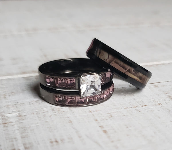 Couples Camo Deer Antler Wedding / Engagement Huntress Hunter Rings 3 pc Set His Hers Wedding Bands Set Hunt Hunter Camouflage Matching Ring Jewelry Brown Camo Black Antlers