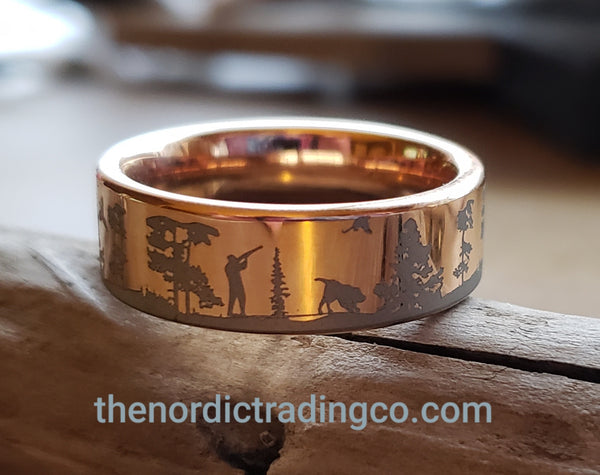Rose Gold Hunter Mens Ring Custom Scene Birds Pheasants Hunting Dogs Tungsten Carbide Wedding Band