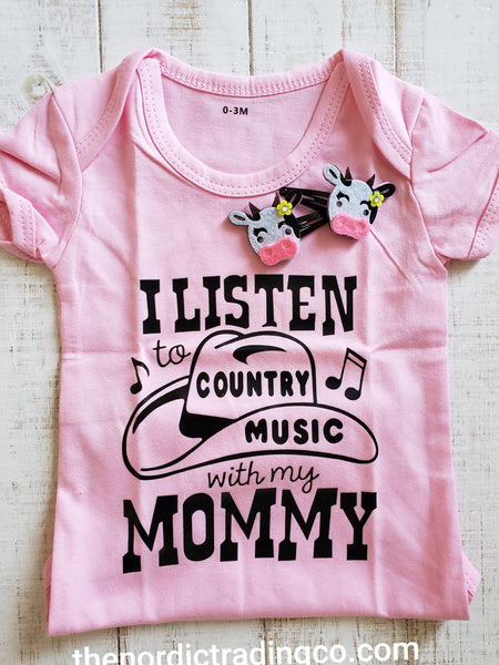 Baby Girl Country Music Outfit Onesie Cow & Pony Hair Clips Cowgirl Round Up Pants Bib