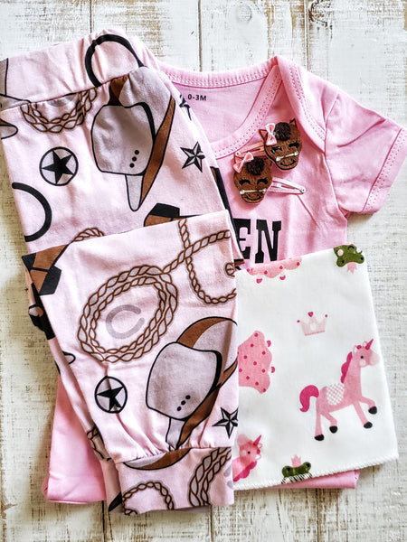 Baby Girls Horse Pony Cowgirl Outfit Country Music Onesie