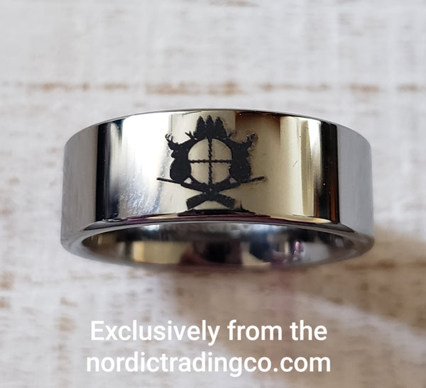 Mens Hunter Crest Ring Crossed Rifles Scope Deer Stag Trees Ultimate Outdoor Sportsman Mens Jewelry Tungsten Carbide Customizable
