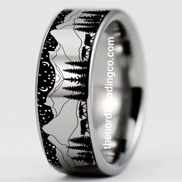 Midnight Wolf Mens Ring Scenic Mountains Wolves Hunt Starry Sky Tungsten 8mm Band Fashion or Wedding Rings Men's Wildlife Jewelry Man Gifts