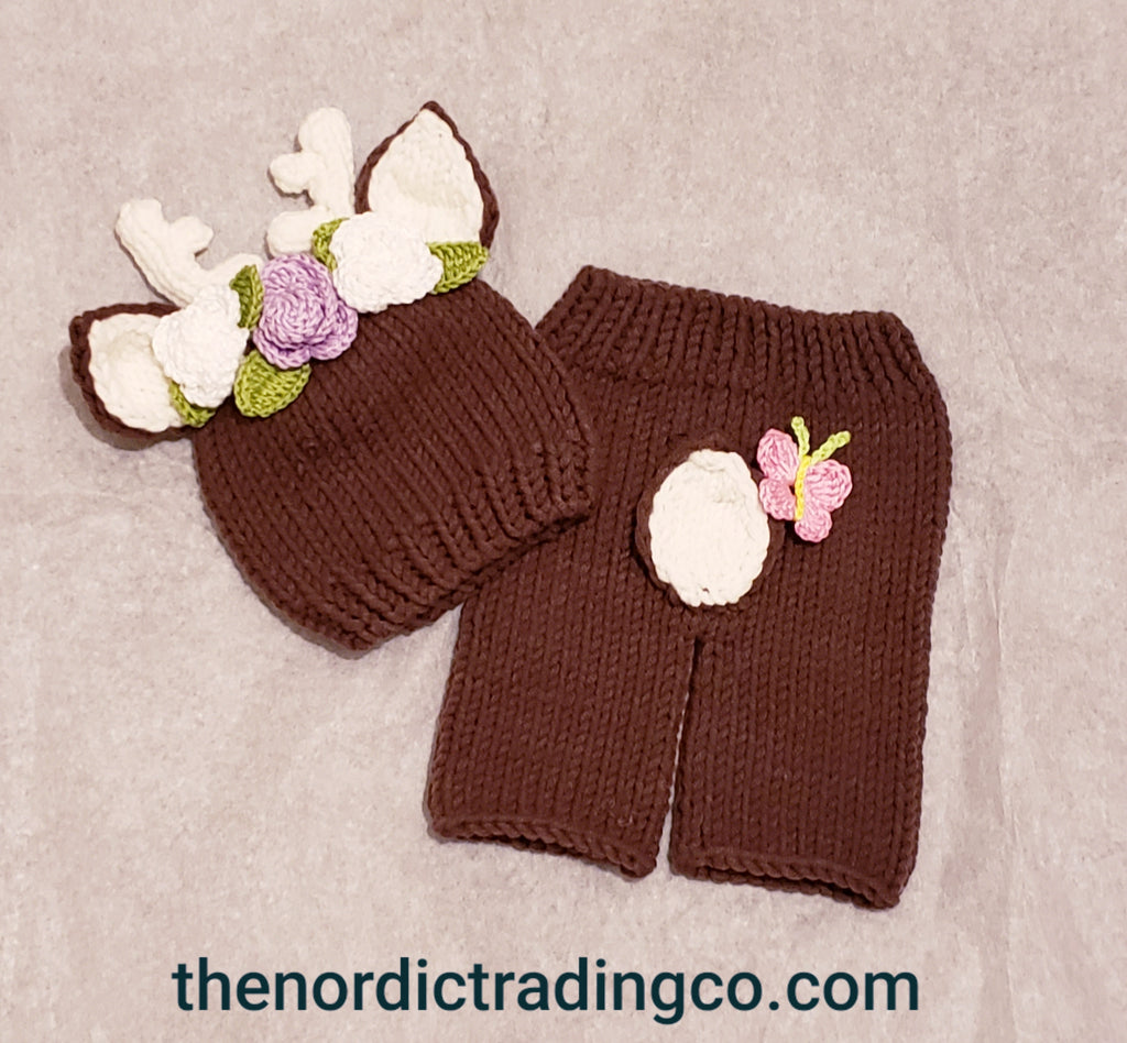 It's a Doe Newborn Girl Flower Deer Outfit Handmade Floral Antlers Flowers Butterfly Newborn Girl's Baby Shower Gift Photo Prop Outfit Pants Hat Clothing Costume Clothing Gifts