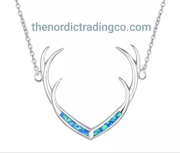 Deer Antler Necklace Nordic White or Blue Fire Opal Inlay .925 Silver Pendant Womens Wildlife Jewelry Gifts Nature Animals Womens Jewellery