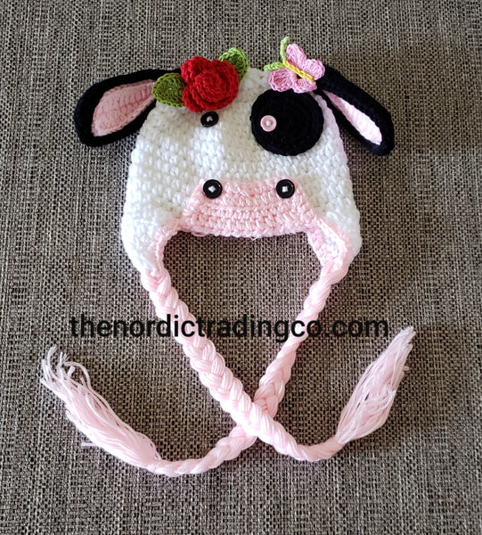 Farmers Daughter Newborn Girl Cow Hat Flowers Tassels Adorable