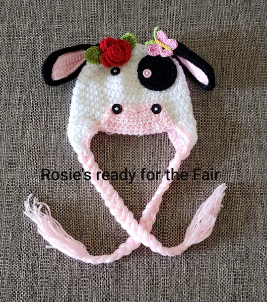 Rosie Baby Girls Crochet Cow Flower Hat  Handmade Photo Prop