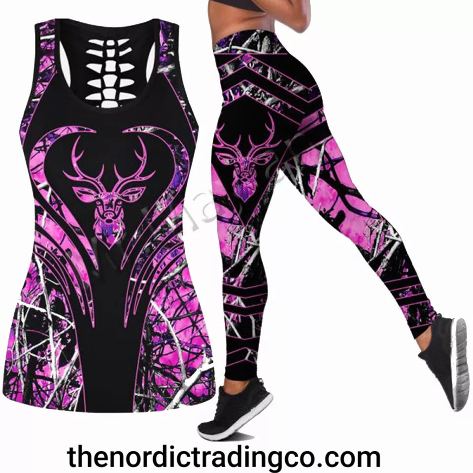 Camo Deer Hunter Womens Yoga Workout Wear Activewear Outfit Racerback Tank Top Leggings Pants Outfit 2pc Med to 3X Women Clothing