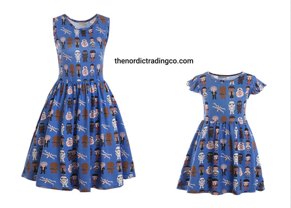 Star Wars Mommy & Me Dresses Girls Toddler Women's Dress Sold Separately Blue Character Darth Vader Princess Leia R2D2 L Skywalker Birthday Party Halloween Costume Mother Daughter