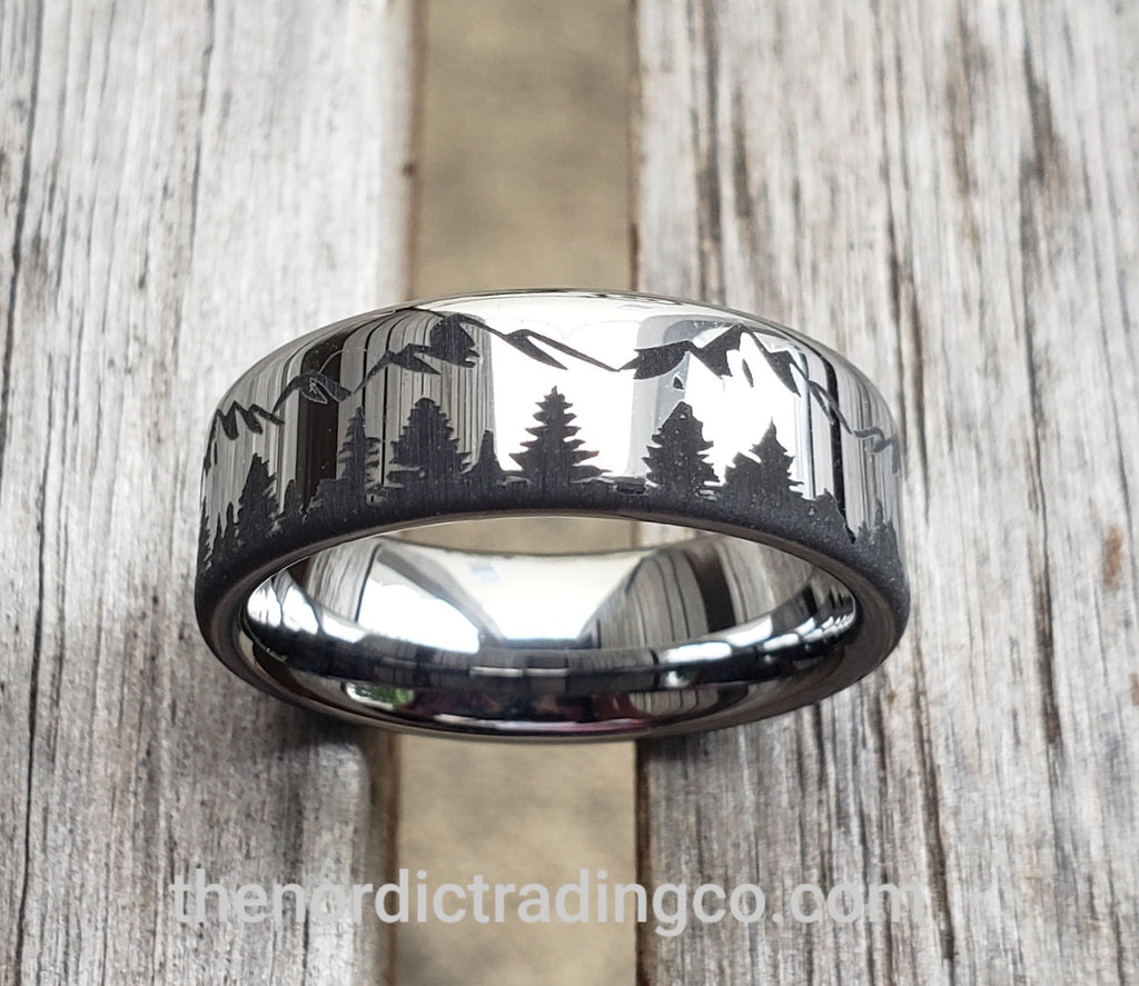 Rocky Mountain High Mens Scenic Mountain Peaks & Tree Line Forest Mens Tungsten Band