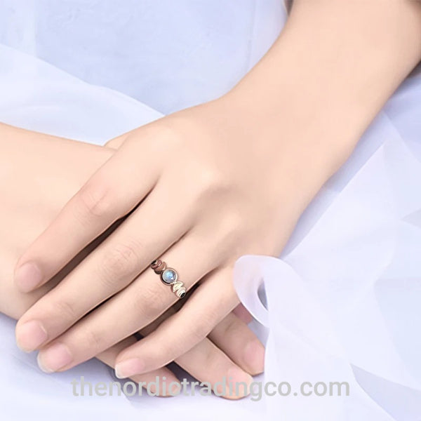 Cosmic Lunar Moon Phases Rose Gold Moonstone Ring Women's Rings Jewelry Gifts for Her Womens Rings Moon Stone Jewellery Anillo