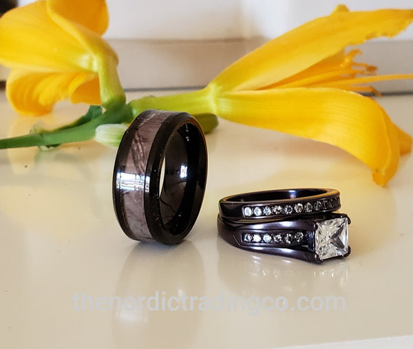 Couples Camo Wedding Rings Bridal Set Engagement Ring Mens Band Chocolate Brown
