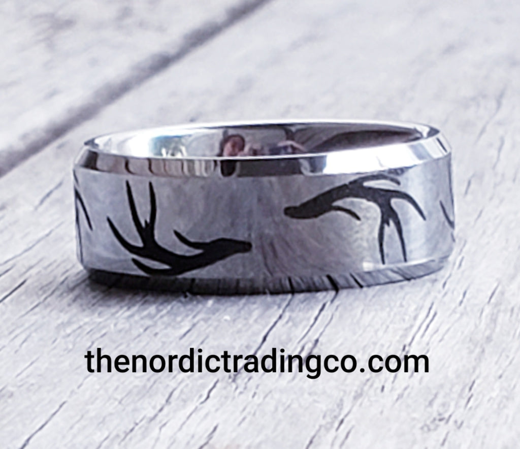 This is an image of Tribal Antler Pattern Ring Mens Wedding Band Silver Tungsten Rings Hunting Nature Mens Rings Jewelry Gifts