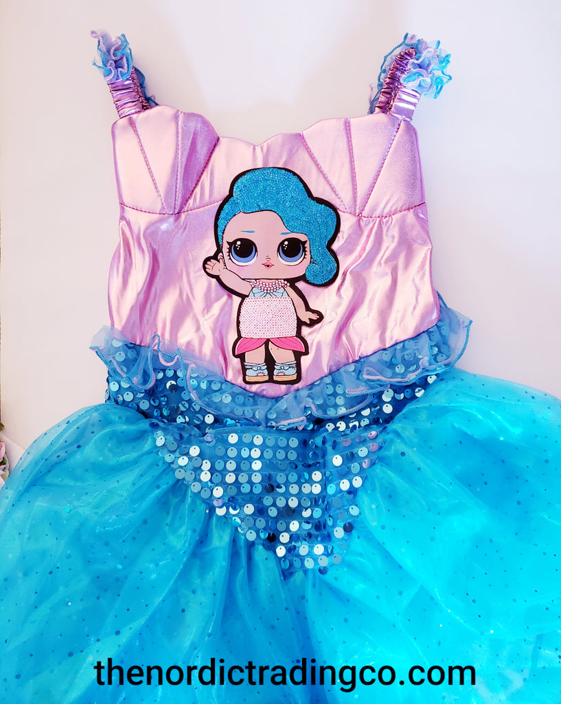 Splash Queen LOL Surprise Mermaid Girl's Dress Costume Dress Up Clothes Costumes Girls L.O.L Surprise Sirena Doll Mermaid Birthday Party Dresses Headband Girl