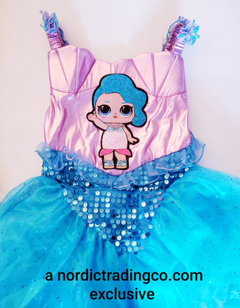 Splash Surprise Mermaid Girl's Dress Costume Dress Up Clothes Costumes Girls Surprise Sirena Doll Mermaid Birthday Party Dresses Headband Girl