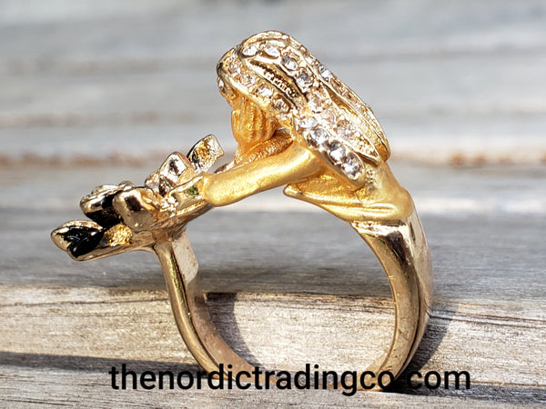 Gold Mermaid Ring 18kgp Long Haired Woman Crystal Braids Sits Hands Resting on Water Lily Women's Fine Jewelry Gifts Birthday Christmas