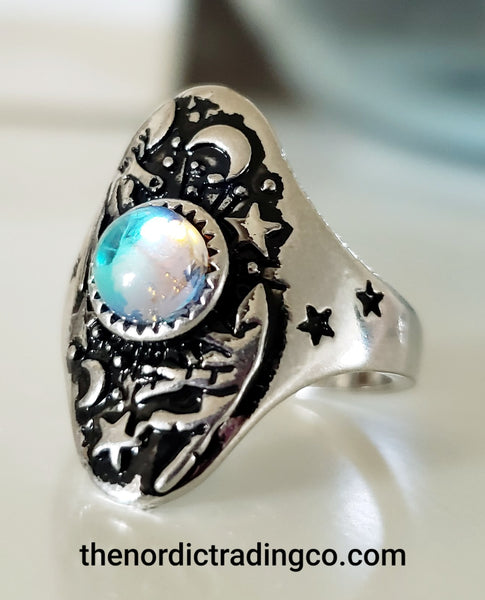 Stars Moons Womens Moonstone Rings .925 Silver Embossed Magic Fortune Teller Hands Star Moon Wiccan Gypsy Women Jewelry Gifts