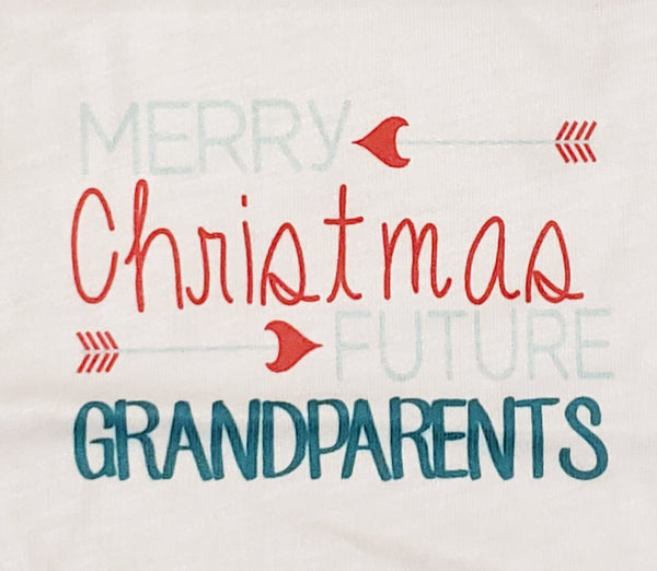 Merry Christmas Grandparents Pregnancy Announcement Onesie Bodysuit Grandma Grandpa New Baby Coming Send Bodysuit Photo Props