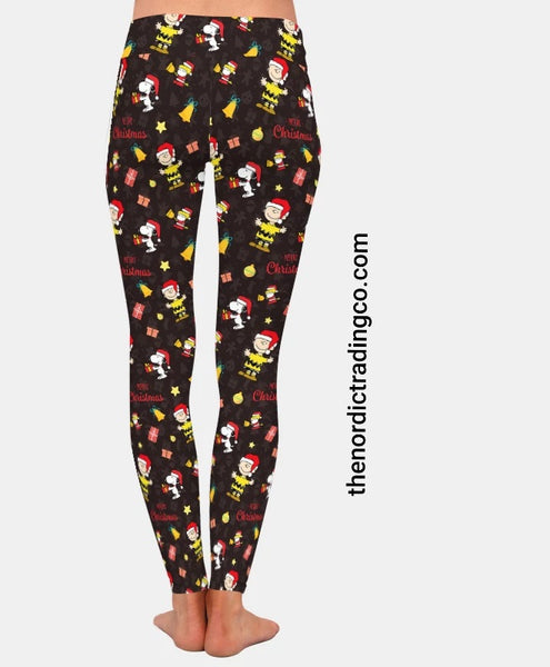 Charlie Brown Christmas Leggings Snoopy Woodstock Holiday Print Exercise Yoga Pants Fitness Gym Womens Clothing